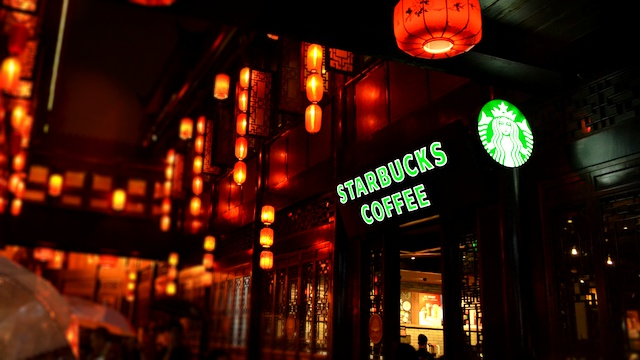 Probably the most 'Asian' Starbucks ever. Can be found around ancient yet scenic Jinli Street in Chengdu China. Pic was taken in September 2017.