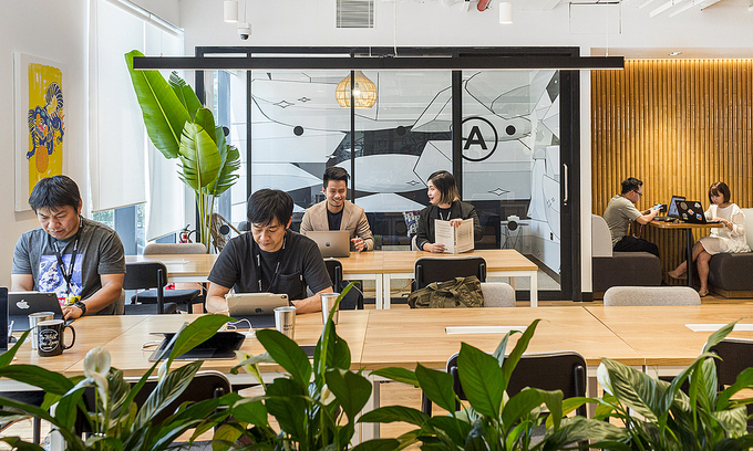 Staff work at a coworking space in HCMC's District 1. Photo by VnExpress/Nhi Chau.